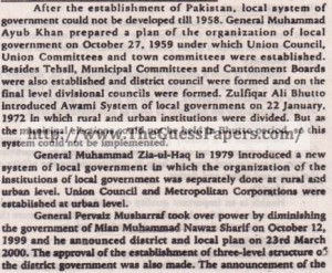 History of local government of pakistan
