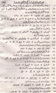 Pakistan Studies (Urdu) 9th Class 2015 M.C.Qs
