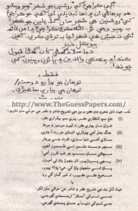 Sindhi (Science) Solved Past Paper 9th Class 2013 Karachi Board