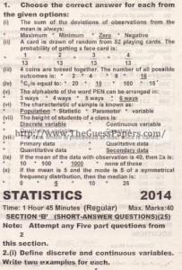 STATISTICS Solved Past Paper 2nd year 2014 Karachi Board (Regular)
