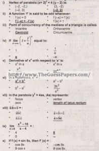 solved MCQs mathematics 2013 2nd year